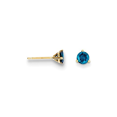 14k .75ct. Blue Diamond Stud Earrings, 14 kt Yellow (0.375 Ct Round Diamond)