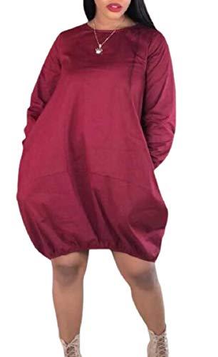 (RRINSINS Women's Bubble Hem Cocoon Long-Sleeve Midi Dress with Pockets Wine Red XS)