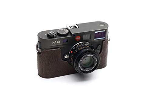 Handmade Genuine Real Leather Half Camera Case Bag Cover for Leica M8 M9 M9P M-E M Monochrome Dark Brown Color