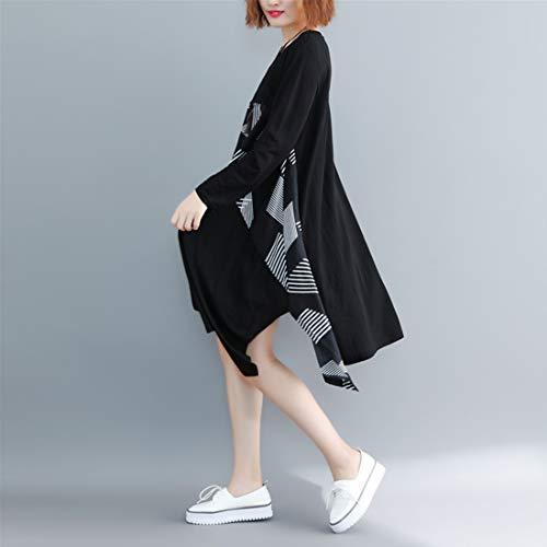 Impresión Para Black Longitud Ropa Algodón Una Línea Larga color De Black Media invierno Cuello Mallty Otoño Chemise Falda Mujer Redondo Manga Vestido qwR0xtAn