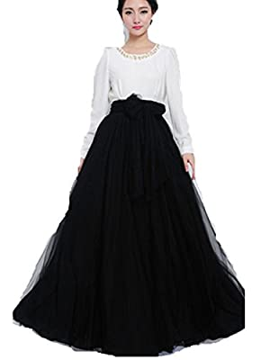 SPRINGWIND Women'S Elastic Waist Chiffon Double Layer Long Maxi Skirt Black