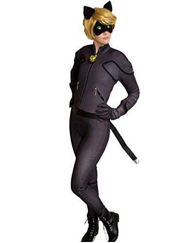 DAZCOS Unisex US Size Black Cat Cosplay Costume Jumpsuit with Eyepatch Ears (Women Small)