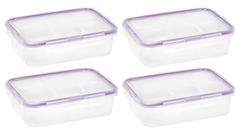 Snapware 1098447 4.5-Cup Airtight Rectangle Container with Purple Seal, Pack of 4 Containers ()