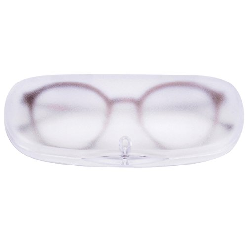 Frosted Plastic Case - EZESO Magnet Buckle Frosted Translucent Nearsighted Eyeglasses Case (Transparent White)