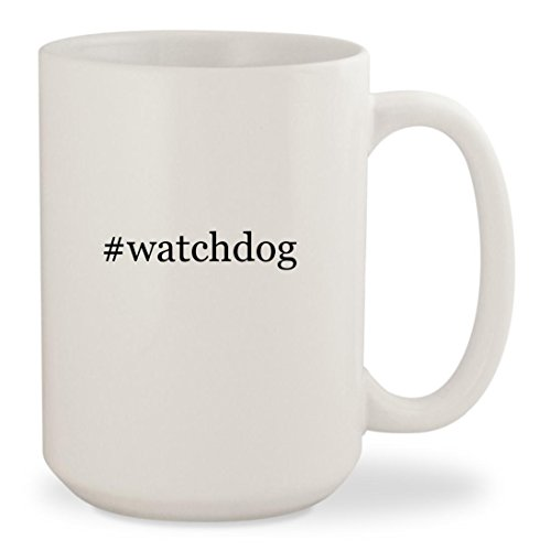 #watchdog - White Hashtag 15oz Ceramic Coffee Mug Cup (Dog Rex Alarm)