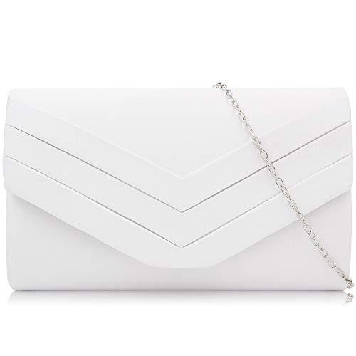 Milisente Evening Bag for Women, Suede Envelope Evening Purses Crossbody Shoulder Clutch Bag (White)