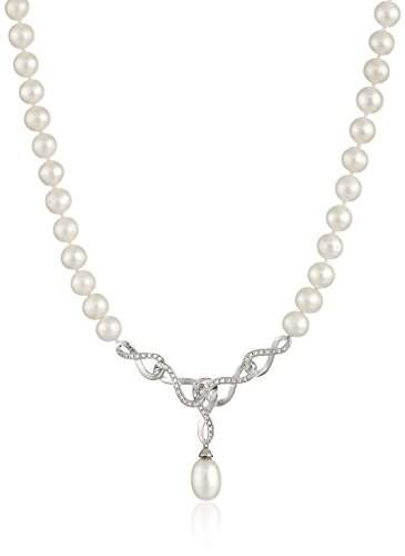 Freshwater Cultured Pearl and White Topaz Interlocking Pearl Strand Necklace With Pendant, 18'' by Amazon Collection