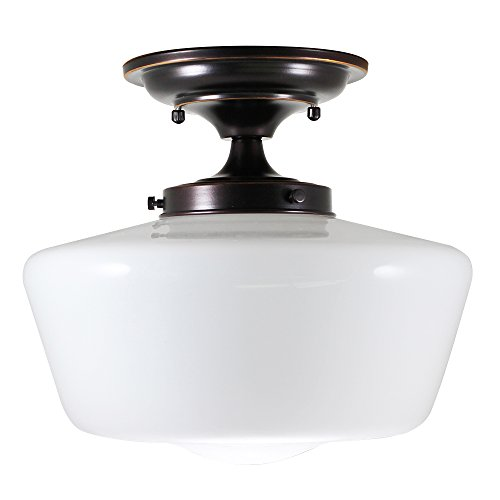 (URBAN 33 F21616-38R Semi-Flush Opal Glass Schoolhouse Fixture, Bronze)
