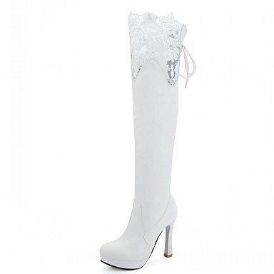 Hasta Tacón Semicuero Stiletto Altas Con Mujer Innovador Tobillo El Otoño  Invierno Zapatos Dedo Confort amp m Botas Cordón Black Redondo Heart  cq7patT0B 030e188be45