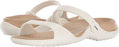 Crocs Women's Cleo Flat Sandal, Oyster/Gold, 5 M US