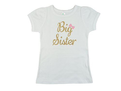[PoshPeanut Big Sister Round Neck Short Sleeve Tshirt - Baby Girl Clothing (4T, White)] (Big Sister Little Sister Costumes)