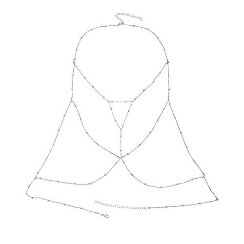 SIYWINA Body Chain Crossover Harness Adjustable Bikini Belly Chain Chest Chain Bikini Necklace(Silver) by SIYWINA