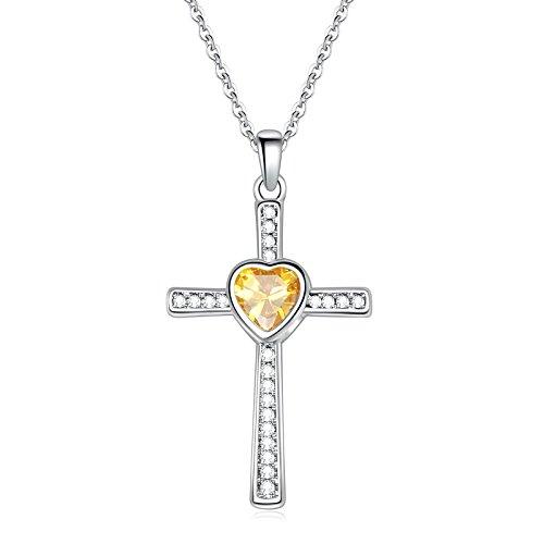 Sunflower Jewellery Birthstones Cross Necklace Heart Crystal Pendant Necklace For Women (November Birthstone Pendant)