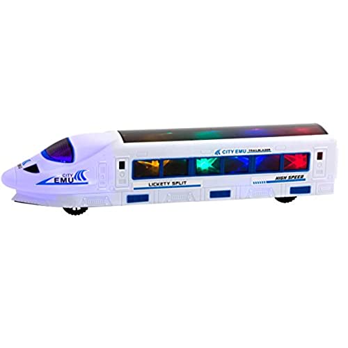 ToyThrill Trailblazer Electric Train Car Toy With Automatic Sensor 3D Star Flashing Lights And Siren Music Best Birthday Gift For Toddlers Boys Ages 3