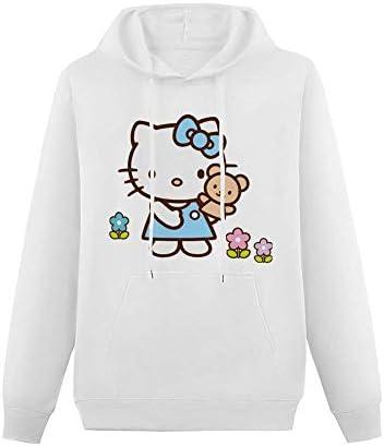 LaoJiNan-shop Hallo Kitty Blue-Hoodies Sweater Mode Langarm Damen Sweatshirt SizeName-ColorName