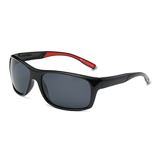 DONNA Unisex Cool Polarized Sports Sunglasses with Oversized Wrap Around Frame for Fishing Golf Hiking D53(Black lens/Red - Glasses Big Face