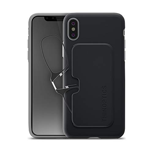 ThinOptics Reading Glasses + iPhone X Case | Black/Gray Fortify Case, 2.50 Strength