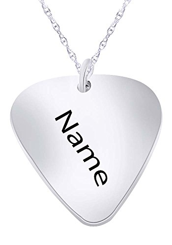 (Wishrocks Personalized Custom Engraved Guitar Pick Pendant Necklace)