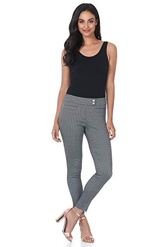 Rekucci Women's Ease in to Comfort Slim Ankle Pant with Snaps (2,Black White Bubble)