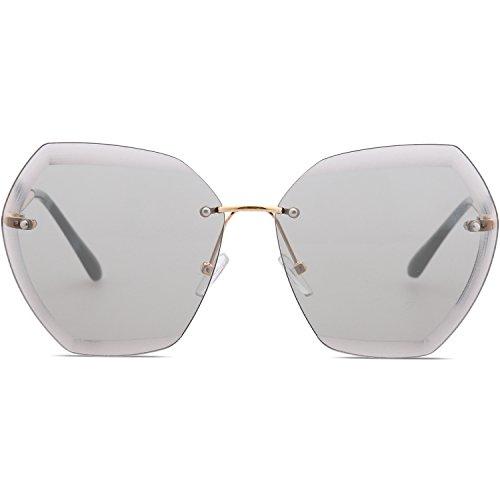 lente transparente Dorado SOJOS Brazo sol Gafas polarizadas sin Clubmaster de SJ5018 Gris Semi montura 1073c1 Lente qfz8Oqx