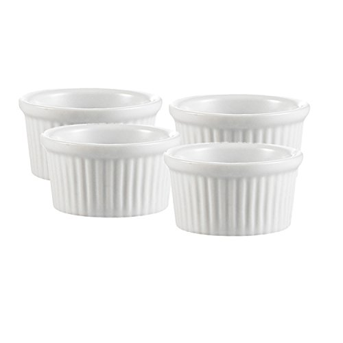 Professional Porcelain Ramekins Bakeware, 4 OZ Souffle Cups Dishes Fine White (Set of 4) Easy to Clean Oven Safe by Culinary Depot (Image #1)