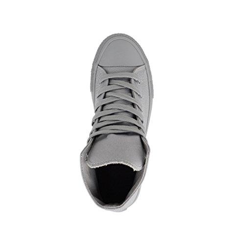 Bequeme Sneaker und Unisex Grey All Schuhe Damen Top für Sportschuhe High Herren Elara Kult Chunkyrayan Textil Fqfx14