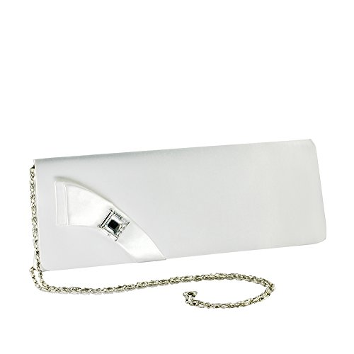 Heather by Touch Ups White Satin Dyeable Clutch Evening Handbag ()