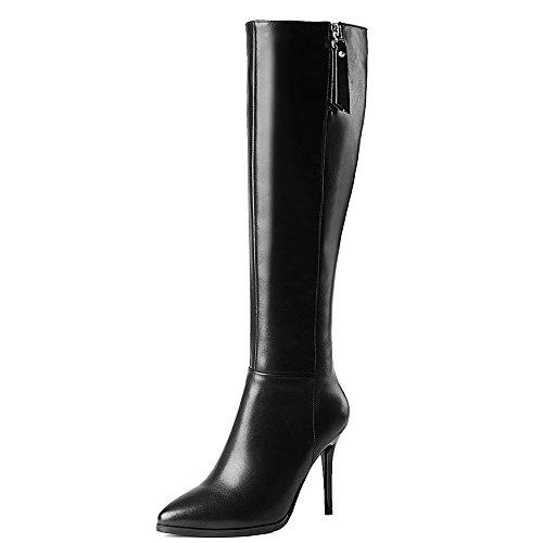 Nine Seven Genuine Leather Women's Pointy Toe Stiletto Heel Elegant Handmade Knee High Boots (6.5, Black) by Nine Seven