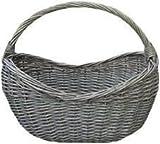 Antique Wash Village Wicker Shopping Basket