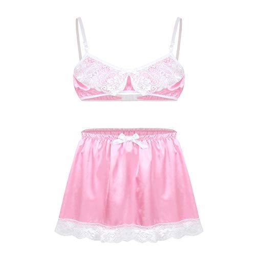 iiniim Men's Sissy Lingerie Set 2 Pieces Ruffled Lace Bra Top Girly Skirted Panties Nightwear Pink Medium