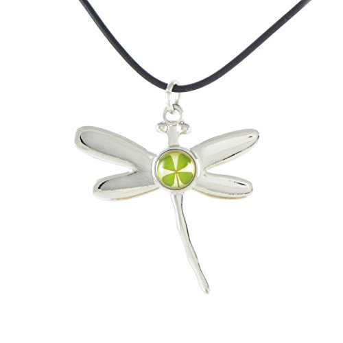 Genuine Four-leaf Lucky Clover Crystal Amber Necklace, Lucky Dragonfly ()
