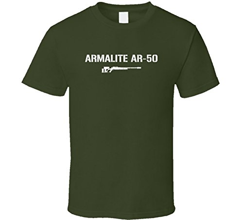 Armalite Ar50 Sniper Rifle Military Distressed T Shirt Military Green