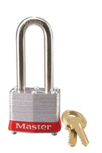 Master Lock 3LHRED Safety Lockout Keyed Different Padlock 1-9/16-inch Body with 2-inch Extra Length Shackle, Red Bumper