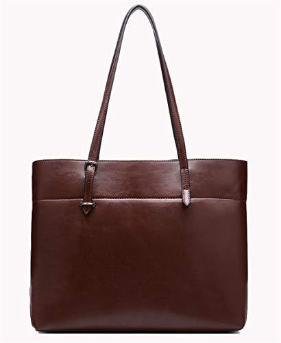de Dos SHENHAI Bandolera Cuero Color en Bolso Tonos New Big Bolso Mujer Aceite Satchel con Cera de marrón Bandolera Bag de en r0tBrPx
