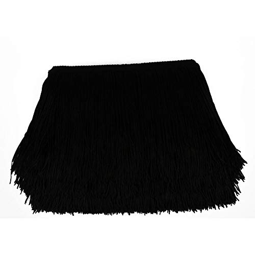 Heartwish268 Fringe Trim Lace Polyerter Fibre Tassel 6inch(″) Wide 10 Yards Long for Clothes Accessories and Latin Wedding Dress and DIY Lamp Shade Decoration Black White Red (Black)