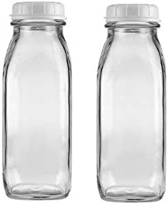 The Dairy Shoppe 1 Pint Glass Water Bottle 17 Oz (2)