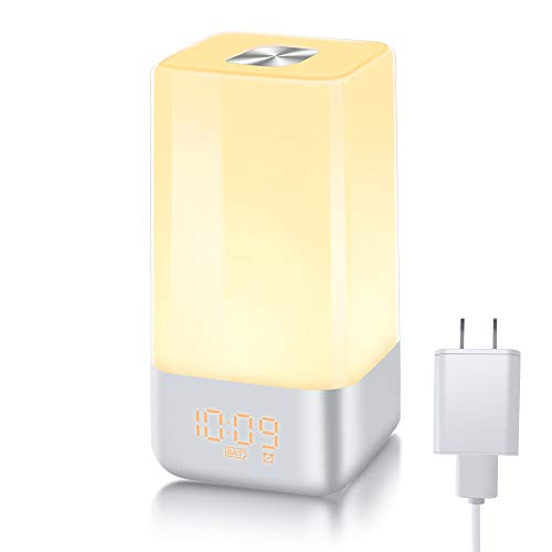 Wake Up Light Alarm Clock with Sunrise Simulation Light Alarm Clock for Bedside Sleep Therapy lamp Touch Control with Multicolor 5 Natural Sounds 3 Brightness LED Night Light 12/24hour TITIROBA TA-02