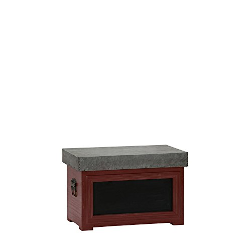 Household Essentials Chalk Board Storage Trunk Chest, Small, Red