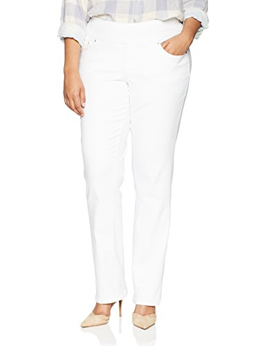 Jag Jeans Women's Plus Size Peri Straight Pull On Jean, White Denim, 16W White Wide Leg Jeans