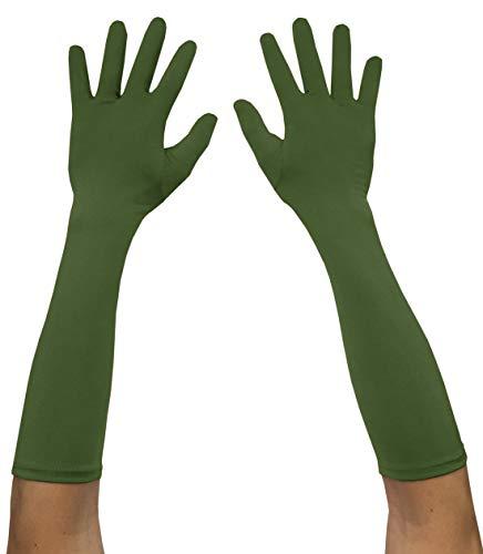 Seeksmile Adult Spandex Elbow Length Costume Gloves (Free Size, Olive) -
