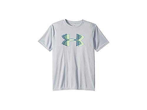 Under Armour Boys Tech Big Logo Solid T-Shirt, Mod Gray (011)/Lime Light, Youth Large