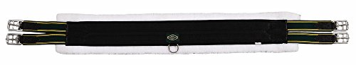 (Henri de Rivel Canvas Fleece Girth with Roller Buckles and DRINGS, Black, 54)