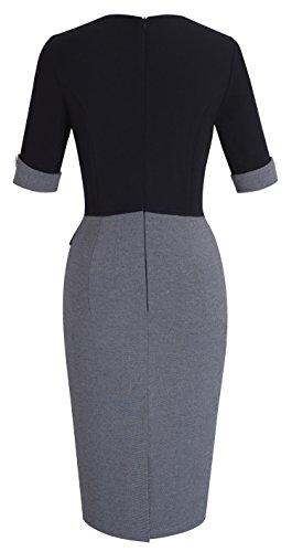 HOMEYEE-Womens-Official-Wear-To-Work-Half-Sleeve-V-Neck-Pencil-Bodycon-Dress-B364