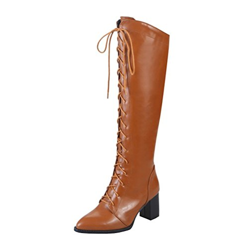 Agodor Womens Knee High Lace Up Mid Chunky Heel Long Boots With Zip Pointed Toe Elegant Shoes Brown
