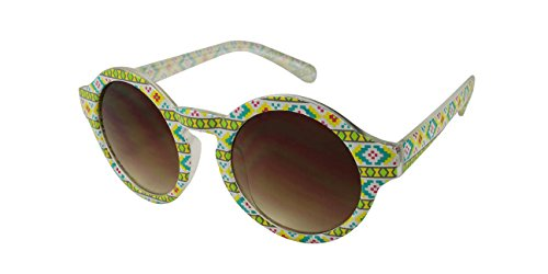 Edge I-Wear Round Patterned Sunglasses with Gradient Lens - Sunglasses Tribal