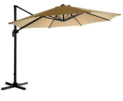 Deluxe Patio Umbrella Stand - HOMEFUN 11ft Patio Aluminium Cantilever Umbrella, Offset Hanging Umbrella Cross Stand Cover, Beige