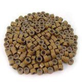 500 Pcs Light Brown 5mm Silicone Lined Micro-ring Links Beads Linkies for I Stick Hair Extension Installation...