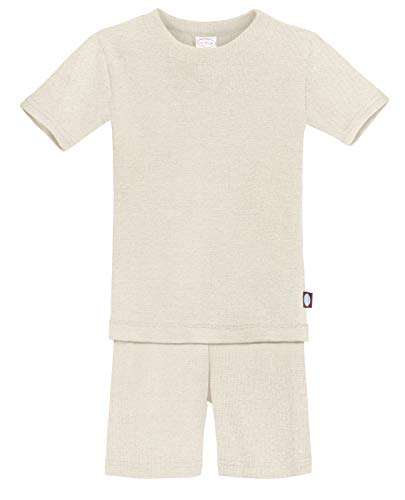 City Threads Certified Organic Thermal Short Sleeve and Short Snug Pajama Set, Baby Boys and Girls for Sensitive Skin, Oatmeal, 12/18M