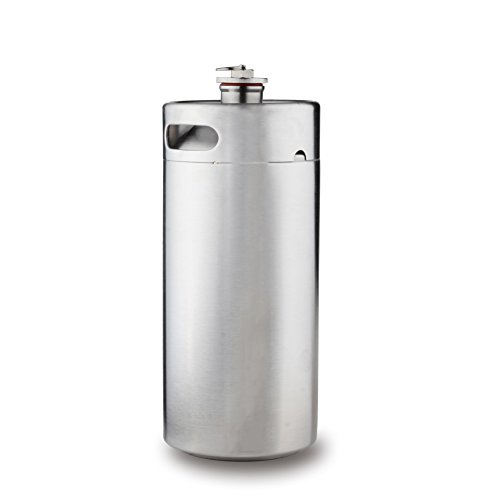 Towerin 128 oz Stainless Steel Mini Keg Portable Beer Growler Craft Beer Barrel Keep Homebrew Fresh and Carbonated Beer Kegging Style for Camping, Hiking and Outdoor Activities