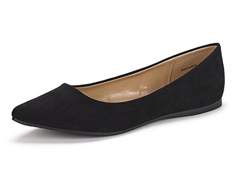 DREAM PAIRS Sole Classic Women's Casual Pointed Toe Ballet Comfort Soft Slip On Flats Shoes Black Suede Size 9